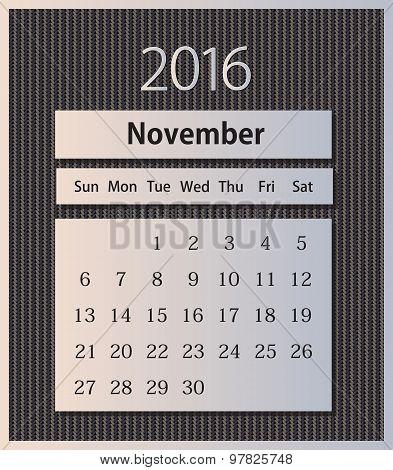 Sample calendar 2016 on knitted background vector, November