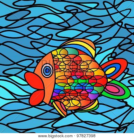 Abstract Fish Seamless Pattern.