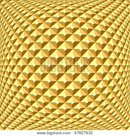 Golden checked relief pattern. Abstract textured background. 3D optical illusion. Vector art.