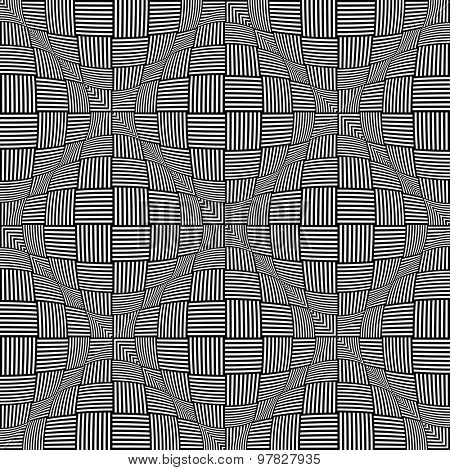 Seamless twisting checked pattern. 3D optical illusion. Vector art.