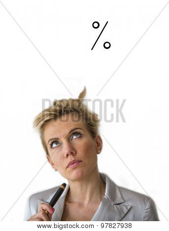 Business woman with pen in hand, looking thoughtfully into space above her. Picture isolated on white background with space for text.