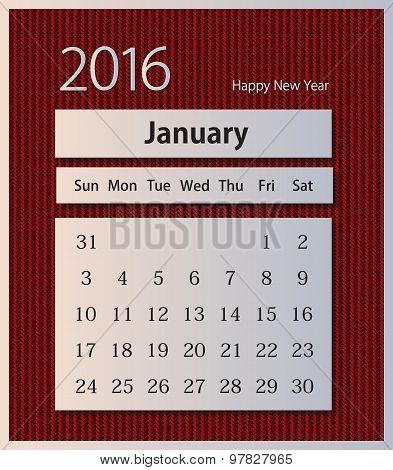 Sample calendar 2016 on knitted background vector, January