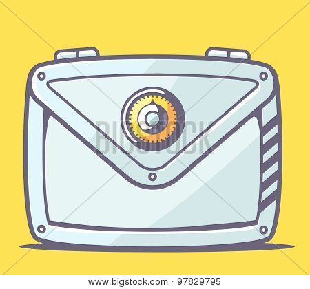 Vector Illustration Of Gray Safe Envelope  On Yellow Background.