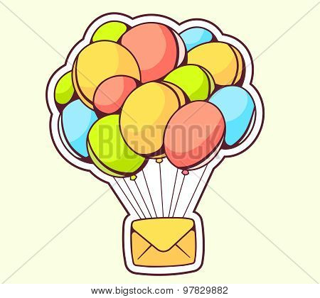 Vector Illustration Of Yellow Envelope Flying On Color Balloons On Gray Background.