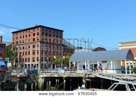 Portland Old Port and Long Wharf, Maine, USA