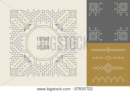 Retro Vintage Set Of Line Monogram Frame Design