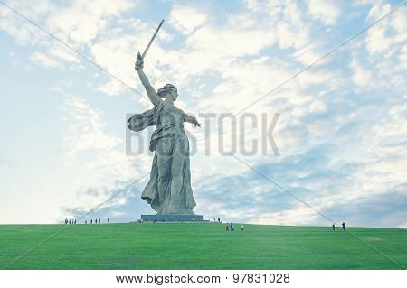 The Motherland Calls monument at sunset