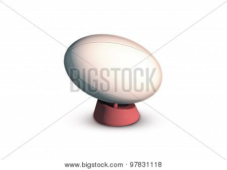 Rugby Ball On Kicking Tee Isolated On White