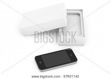 3D Render Smartphone With Box