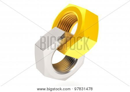 Golden And Silver Interlocked Nuts