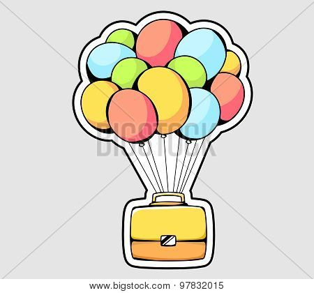 Vector Illustration Of Yellow Briefcase Flying On Color Balloons On Gray Background.