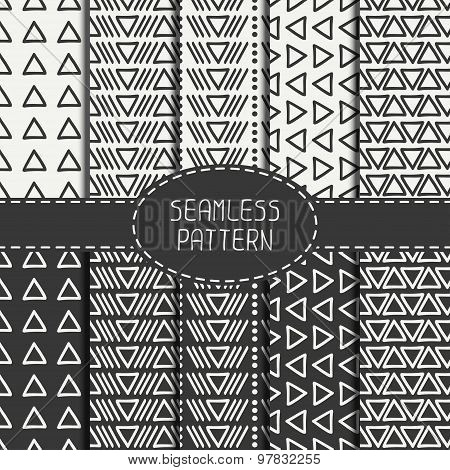 Set of hand drawn geometric monochrome hipster line seamless pattern with triangle. Wrapping paper.
