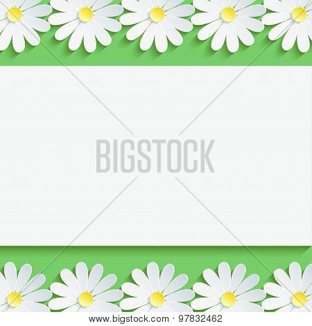 Stylish Background With Chamomiles And Paper Sheet
