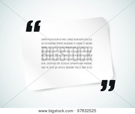 Quote text bubble. Commas, note, message and comment, template, design element. Vector object isolat