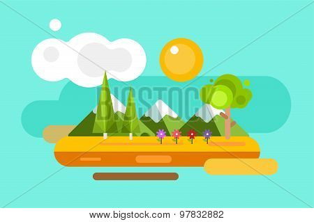 Abstract outdoor summer landscape. Trees and nature signs, mountains, river or lake, sun, clouds, fl