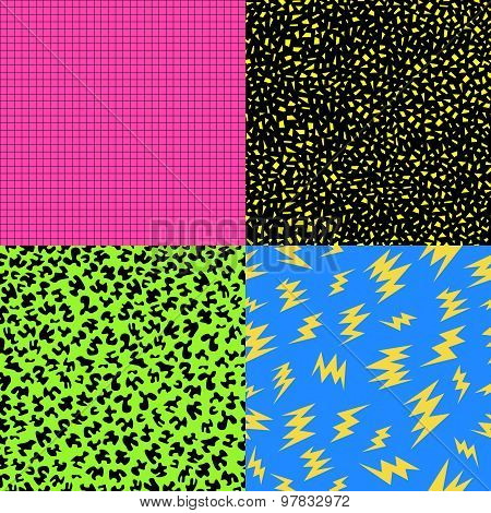 Retro 80S Seamless Pattern Background Set