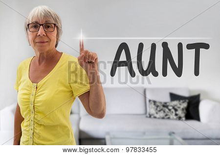 Aunt Touchscreen Is Shown By Senior
