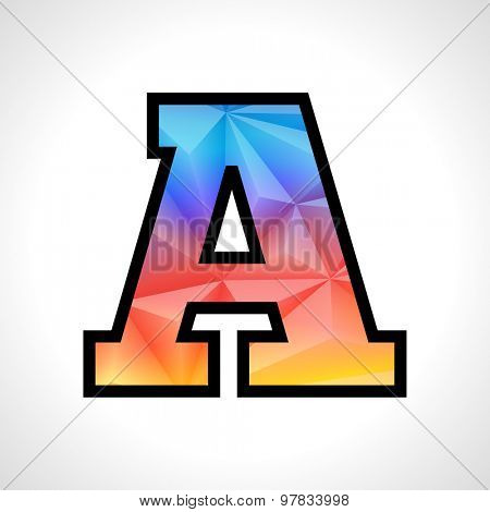 Vector Geometric Gradient Design Font. Children letter A