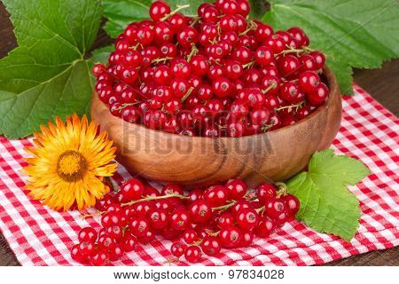 red currant in wooden bowl rustic still life