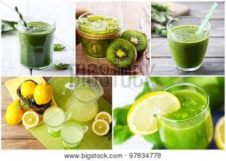 Collage of fresh drinks