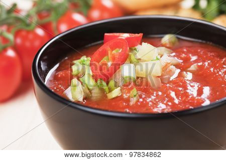 Gazpacho, spanish raw tomato and vegetable soup, refreshing summer meal