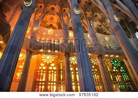 BARCELONA, SPAIN - MAY 02: Interior of the Sagrada Familia, a cathedral and world heritage site designed by Catalan architect Antoni Gaudi. May 02, 2015 in Barcelona Spain