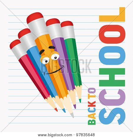 Cartoon colored pencils with text  back to school. Vector illustration.