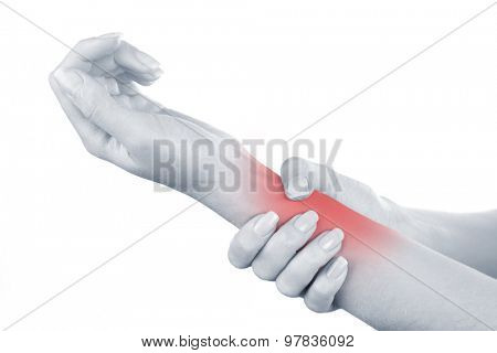 Young woman with hand pain isolated on white