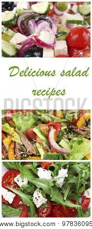 Colorful and tasty salad mix in collage