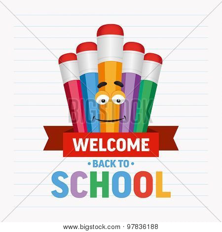 Cartoon colored pencils with text welcome back to school. Vector illustration.