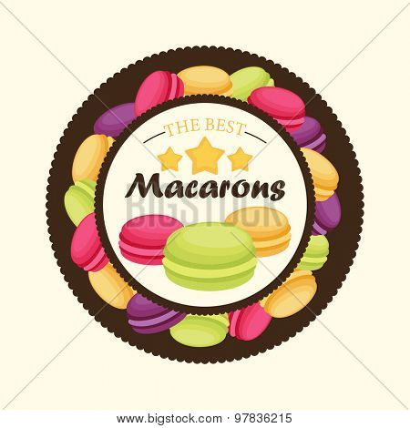 The best macarons. Vector illustration of a frame with macarons.