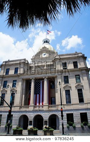 Savannah City Hall with gold dome and clock