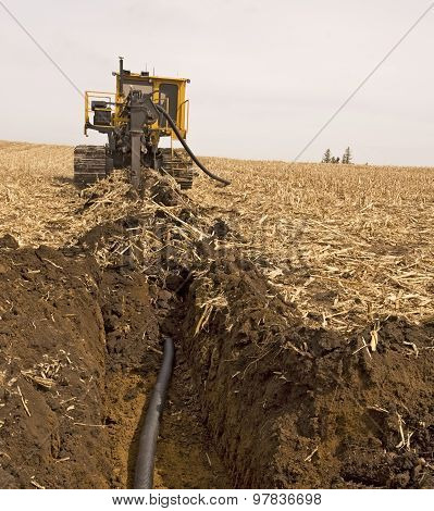 Farmland Drainage Tiling Machine At Work