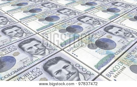 Colombian pesos bills stacks background.