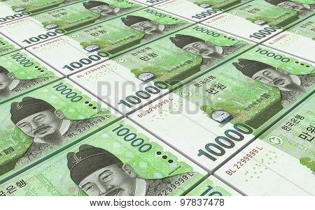 Korean won bills stacks background.