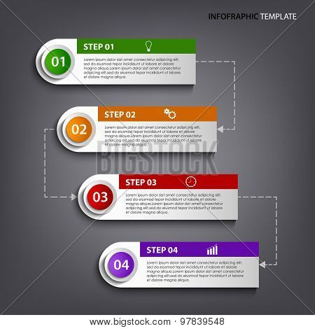 Info Graphic With Colorful Tags Labels Design Template