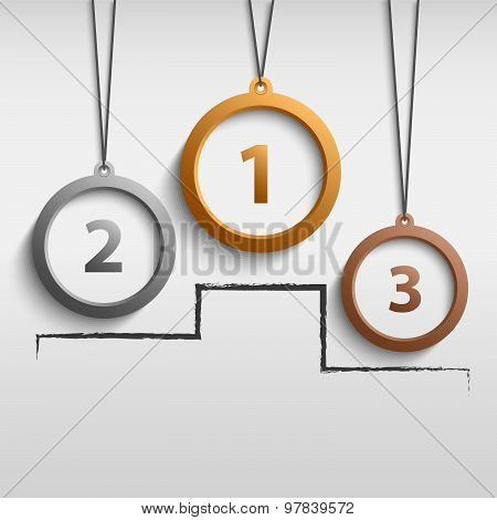 Medal Gold Silver Bronze With Podium Finish Template