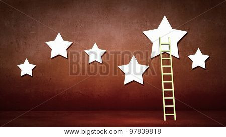 Conceptual designed image with ladder to stars