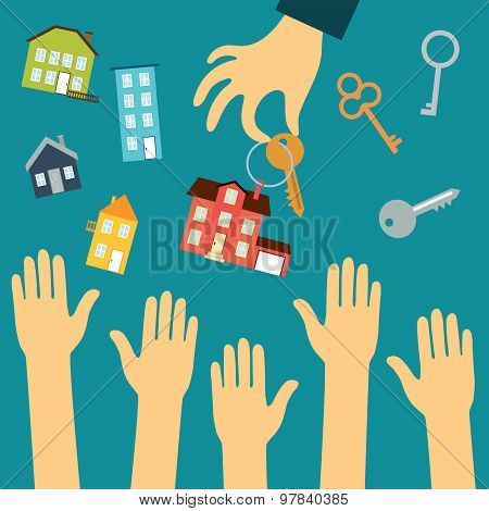 Hands of buyers are drawn to the hand of a real estate agent who