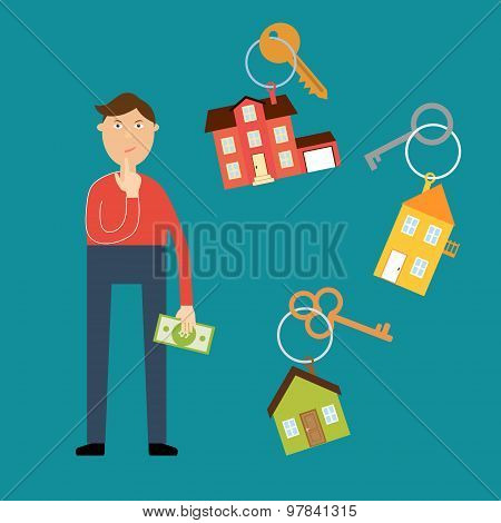 Buyer with a dollar bill in his hand wondered which house to cho