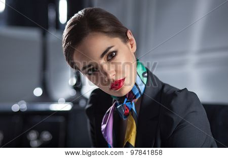 Closeup Portrait Of Attractive Stylish Businesswoman