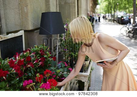 Female tourist with city map taking pot of red flowers at recreation sunny day in summer outdoors