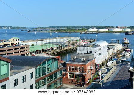Portland Old Port and Portland Harbor, Maine, USA