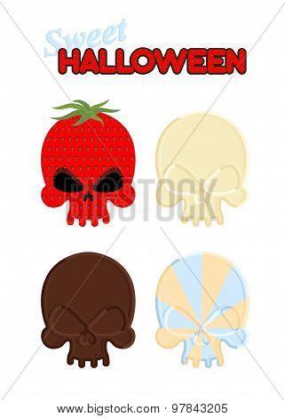 Sweet Halloween. Set Sweet Skull Of White And Dark Chocolate, Strawberry And Caramel. Vector Illustr