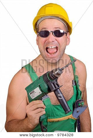 Serviceman with hand drill