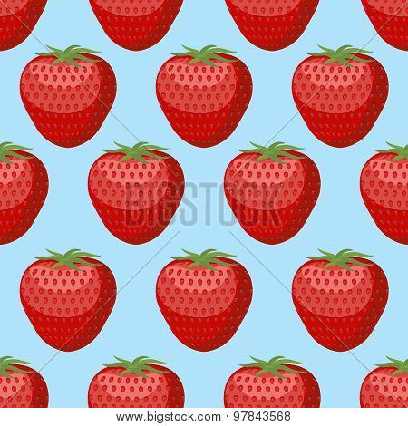 Strawberry Seamless Pattern. Fresh, Red, Ripe Strawberry Vector Background.