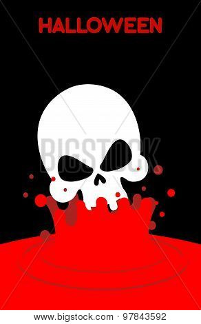 Skull Falls Into Blood. Splashes Of Red Blood. Vector Illustration For Halloween