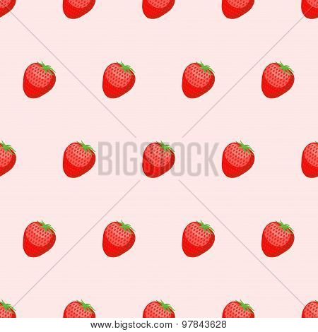 Red Strawberry Seamless Background. Fresh, Ripe Berries Vector Pattern.
