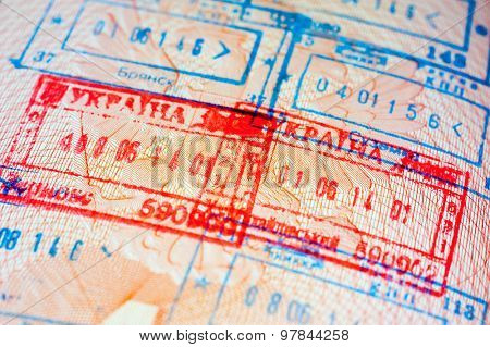 Immigration stamps in the passport
