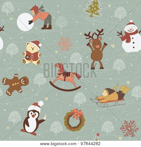 Background with children, snowman, gingerbread, reindeer, wooden horse, teddy bear,  penguin, garland, christmas tree like appliques on tissue